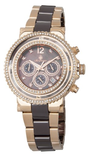 Burgmeister Kardamena Women's Quartz Watch with Brown Dial Chronograph Display and Rose Gold Stainless Steel Rose Gold Plated Bracelet BM215-398