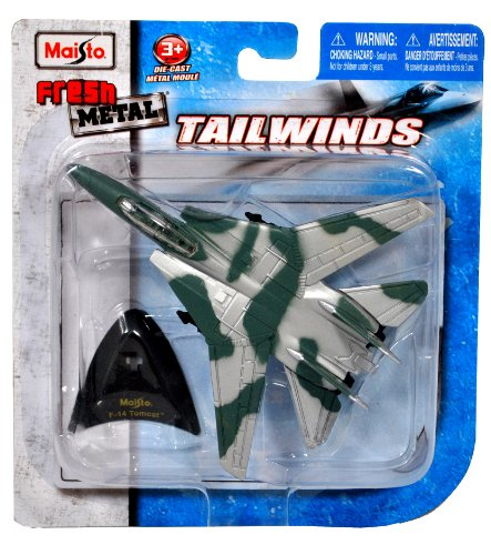 Maisto Fresh Metal Tailwinds 1:150 Scale Die Cast United States Military Aircraft - U.S. Navy Supersonic, Twin-Engine, Two-Seat, Variable Geometry Wing Aircraft F-14 Tomcat with Display Stand (Dimension: 4-1/2