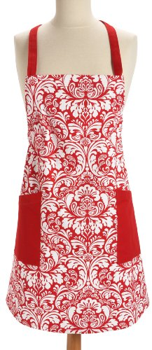 DII 100% Cotton, Printed Damask Chef Kitchen Apron, Machine Washable, Great Hostess Gift, Cooking or Baking Apron with Pockets, Tango Red