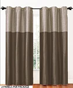 2 Panel Fabric Window Curtain Set Metal Grommets Chocolate Brown Home Kitchen
