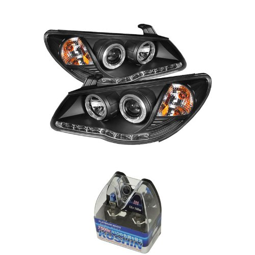Carpart4U Hyundai Elantra Drl Led Projector Headlights & Koshin Platinum White Halogen Light Bulbs Package