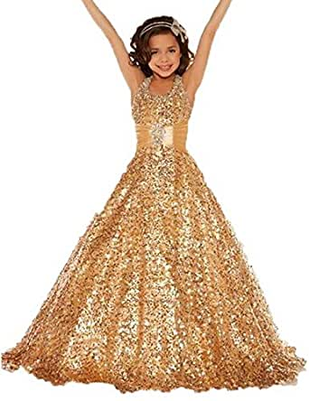 Amazon.com: Aiduo Golden Birthday Pageant Party Flower Girl Dress (4