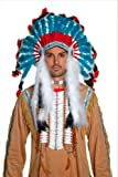 Smiffy's Unisex-Adult Indian Headdress, White/Red/Blue, One Size