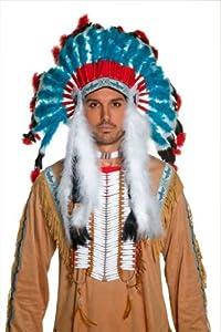 Smiffy's Unisex-Adult Indian Headdress, White/Red/Blue, One Size