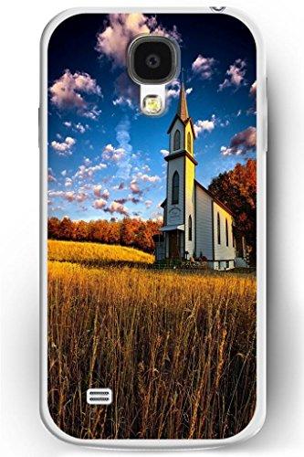 Sprawl Luxury Samsung Galaxy S4 Hard Case Ultra Slim Fit Religious Worshipper Shrine Design -- Church In Golden Wheat