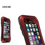 POTOJP Love Mei ブランド純正品 iPhone 6/6s 対応  防水/防塵/耐衝撃ケース シリコン/金属/強化ガラス フォンケース 携帯カバー  (レッド)