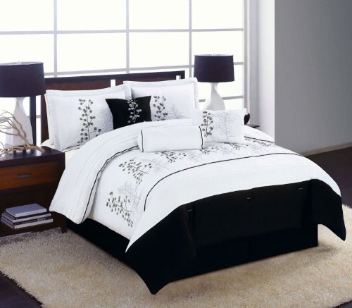 7Pc Bedding Comforter Set Black White Winter Blossom Embroidered Full, Queen, King Size (Queen) front-958288