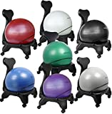 "Isokinetics Inc. Brand Balance Exercise Ball Chair - Choice of Ball Color - Exclusive: Office size 60mm/2.5"" wheels (versus 50mm/2"" wheels used on other brands) - w/Ball Measuring Tape & Starter Pump"