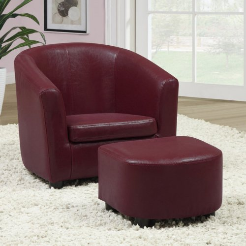 Monarch Specialties White Leather Juvenile Arm Chair and Ottoman Set