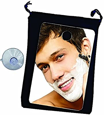 Shower Mirror ~ Fog Free Travel Shower Mirror ~ Includes Lined Velvet Drawstring Travel Bag and Large Quality Suction Cup. The Best Fogless Shower Mirror. Perfect for the Gym and Travel. Large Enough for Home Use Too. Fog Free Shaving on the Go. By Shave