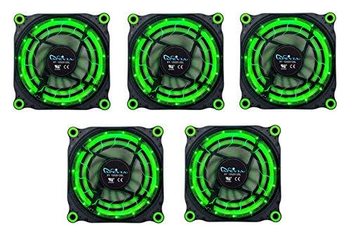 APEVIA 512L-DGN 120mm Silent Black Case Fan with 15 x Green LEDs & 8 x Anti-Vibration Rubber Pads (5 Pk) - Best Value