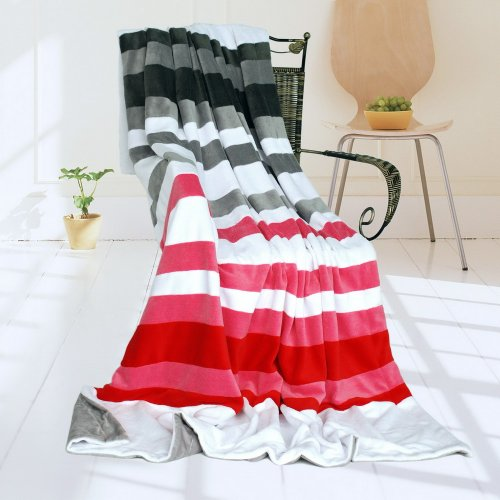 Onitiva - [Stripes - Fantastic Dreams] Soft Coral Fleece Patchwork Throw Blanket (59 By 78.7 Inches) front-116630