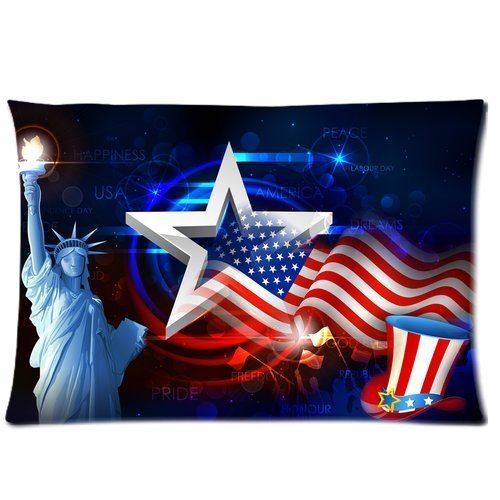 Butuku Statue Of Liberty With American Flag Custom Rectangle Soft Pillow Case Standard Size 20X30 front-1040223