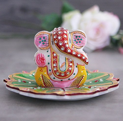 Marble Ganesh Statue on a Floral Tray