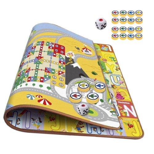 Cheap Eco-Friendly Baby Care Crawl Kids Play Mat Cartoon Pattern On Both Sides Plus Flight Chess