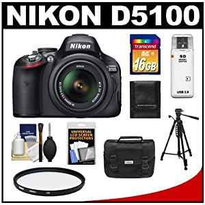 Nikon D5100 16.2 MP Digital SLR Camera & 18-55mm G VR DX AF-S Zoom Lens with 16GB Card + Case + Filter + Tripod + Cleaning & Accessory Kit