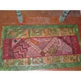 Warm Wine Tones Vintage Textile Sari Tapestry Throw Wall Hanging Table Runner 80 X 22 Inch