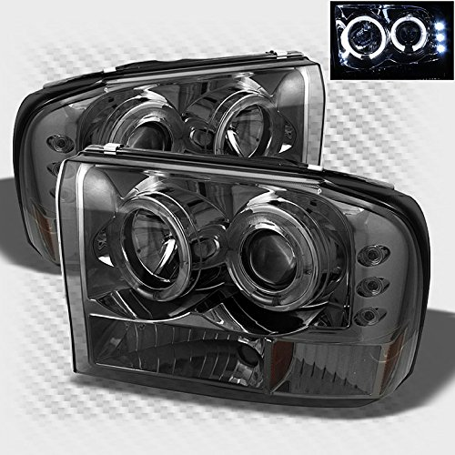 Smoked 1999-2004 F250 F350 Super Duty Halo LED Projector Headlights Smoke Head Light Pair Left+Right 2000 2001 2002 2003 (F350 Smoked Headlights compare prices)
