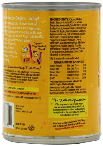 Wellness Complete Health Just For Puppy Chicken & Salmon Natural Wet Canned Dog Food, 12.5-Ounce Can (Pack of 12)_Image5