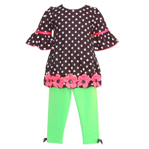 Bonnie Jean Baby Girl 6-9M Black Polka Dot Dress Green Leggings Outfit front-988332