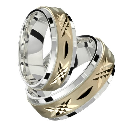 Salvatore &#8211; Beautiful Two Tone Comfort Fit Wedding Band for Him &#038; Her! Custom Made! Choose your Size.