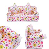 Toy - STOREINBOX Mini Furniture Flower Sofa Couch +2 Cushions For Barbie Doll House Accessories
