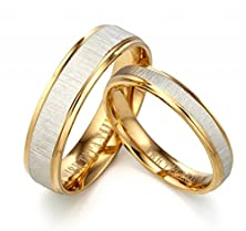 buy Gemini Custom His Or Her 18K Yellow Gold Filled Anniversary Wedding Ring Width 4Mm Size 11 Valentine'S Day Gift