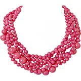 Humble Chic Women's Twisted Bauble Necklace - Multistrand Layered Statement Beads
