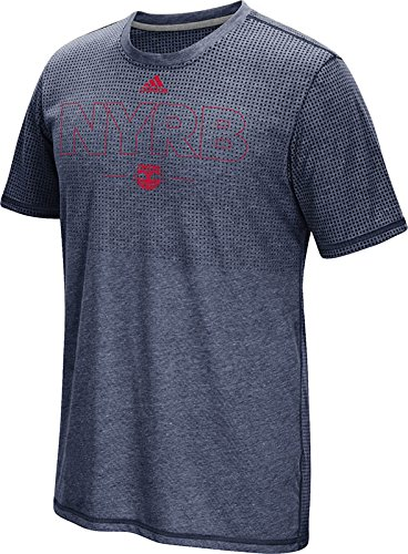 MLS New York Red Bulls Men's Club Authentic 16 Climacool Short Sleeve Tee, Large, Heathered Navy
