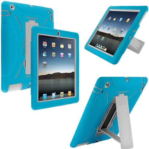 Cell Accessories For Less (Tm) Baby Blue / White Hybrid Heavy Duty Hard/Soft Case Cover With Stand For Apple Ipad 4Th 3Rd 2Nd Gen - By Thetargetbuys front-960470