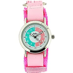 Girls Time Teacher Watch Pink Sports Velcro Strap