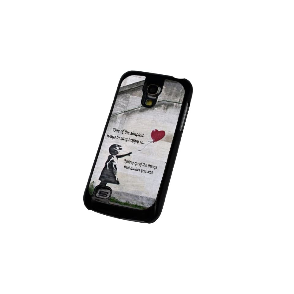 Black Frame Samsung Galaxy S4 Mini i9190 Banksy Graffiti Art Balloon Girl (one of the simplest ways to stay happy) Design Case Back Cover Hard Plastic And Metal