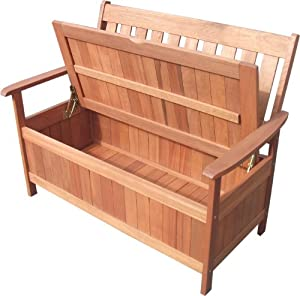 Wooden 2 Seater Garden Bench With Under Seat Storage Box Outdoor Patio Seating
