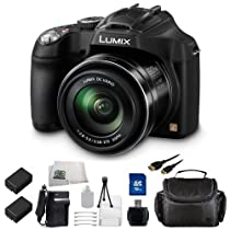 Panasonic LUMIX DMC-FZ70 16.1 MP Digital Camera Kit with 60x Optical Image Stabilized Zoom and 3-Inch LCD (Black) Includes 16GB Memory Card, USB Memory Card Reader, 2 Replacement DMW-BMB9 Batteries, Rapid Travel Charger, Mini HDMI Cable, Carrying Case and Cleaning Kit