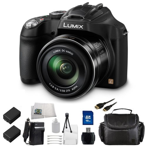 Panasonic Lumix Dmc-Fz70 16.1 Mp Digital Camera Kit With 60X Optical Image Stabilized Zoom And 3-Inch Lcd (Black) Includes 16Gb Memory Card, Usb Memory Card Reader, 2 Replacement Dmw-Bmb9 Batteries, Rapid Travel Charger, Mini Hdmi Cable, Carrying Case And