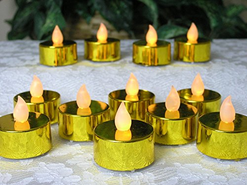 Gold Candles - Set of 12 Metallic Gold LED Tea Light Candles - Flameless Candles - Flickering Candles - Gold Wedding Decorations - 50th Wedding Anniversary Decorations - Over the Hill Decorations - Restaurant Candles