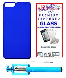 AryaMobi Hard Back Case Cover for Micromax Canvas Knight 2 E471 - Blue,Tempered Glass, Selfie Stick Aux Port