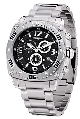 Jorg Gray 9800 Big Sport Chrono Steel 45mm Watch - Black Dial, Stainless Steel Bracelet JG9800-11