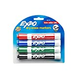 Expo Low Odor Chisel Tip Dry Erase Markers, 4 Colored Markers(80174)