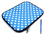 Flash Superstore Bundle Pack of Blue Capacitive/Resistive Touchscreen Stylus Pen & Polka Dots Blue / White ( 10-11 Inch Tablet / eReader / Netbook ) Water Resistant Neoprene Soft Zip Case/Cover suitable for Acer Iconia Tab A200 ( 10-11 Inch Tablet )