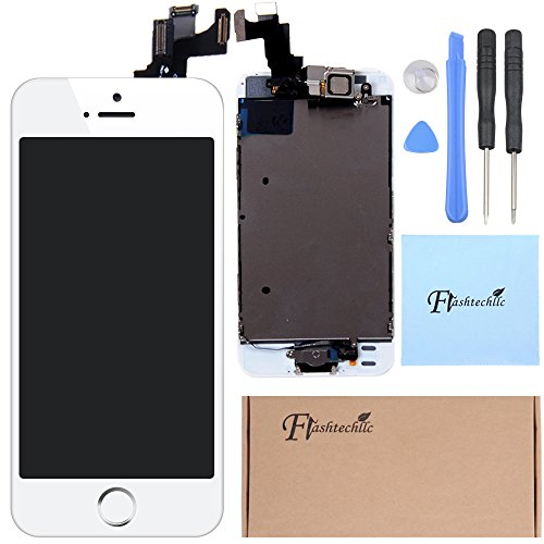 White Front Housing Lcd Display Touch Digitizer Screen Assembly + Home Button +Rear Camera Flex Cable For Iphone 5S