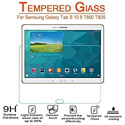 AnoKe Samsung GALAXY Tab S 10.5 T800 T805 Tempered Glass Screen Protectors 9h Hardness, 0.3mm Thickness For (T800)