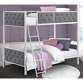 DHP Chesterfield Upholstered Linen Bunk Bed, Twin Size - White Metal/Grey Upholstery