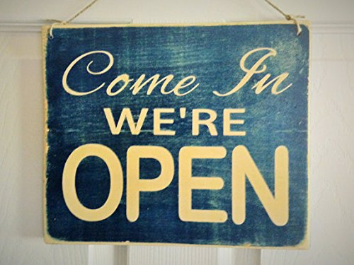 Come On In We'Re Open / Sorry We'Re Closed Front And Back Rustic Wood Shabby Chic Door Hanger Sign
