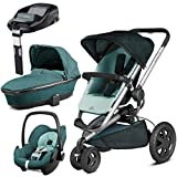 Quinny Buzz Xtra Novel Nile with Carrycot and Pebble with Familyfix Base