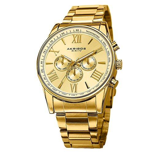 Akribos-XXIV-Mens-AK736YG-Ultimate-Swiss-Multifunction-Gold-tone-Stainless-Steel-Bracelet-Watch