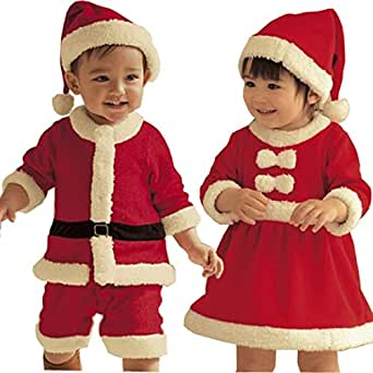 LefRight(TM) Baby Xmas Santa Claus Costume Onesie Romper + Hat Outfit Red