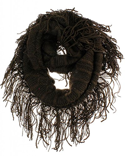 Ny Deal Knit Infinity Loop Scarf With Fringe, Chocolate