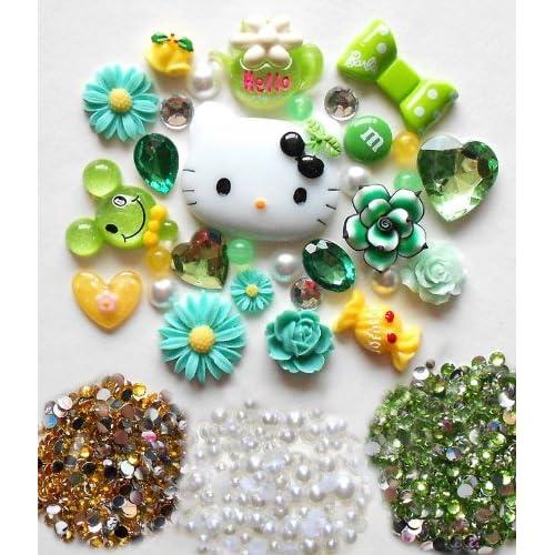 DIY Kitty Bling Bling Cell Phone Case Resin Flatback Deco Kit / Set    lovekitty