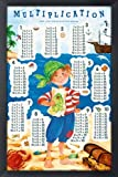 Poster mit Rahmen 61 x 91,5 cm, Aluminium Schwarz – Multiplication Table – Pirate gerahmt – Antireflex Acrylglas